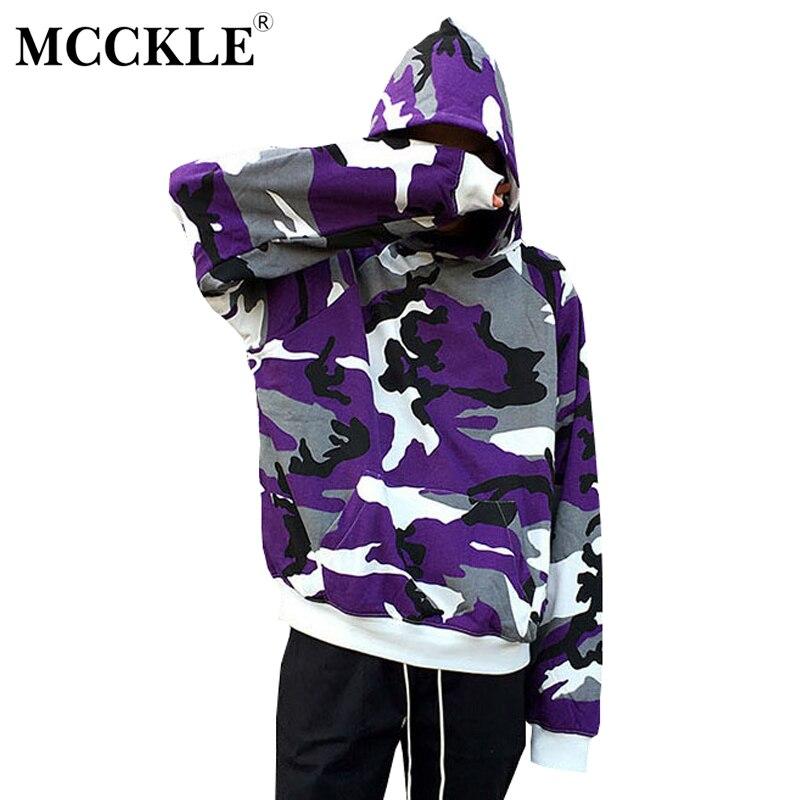 MCCKLE 2018 Spring Men High Street Tactical Camouflage Hood Pullover Men Women HipHop Streetwear Casual unisex oversize Hoodies