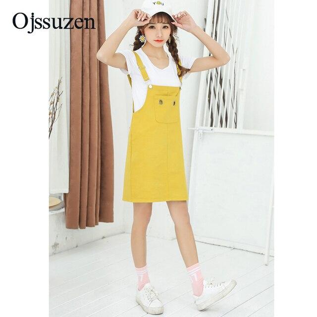 Alça ajustável das Mulheres Short Jeans Macacão Vestido Amarelo Estilo  Japão Coreano Verão Suspensórios Sensuais Mulheres a56291f981b