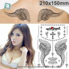 Waterproof Blue Angel Wings Tattoo Thorn Cross Tattoo Patterns Custom LC2829