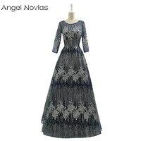 Ангел Novias с длинным рукавом Дубай Роскошные Формальное вечернее платье 2018 блеск Bling Темно-синие Для женщин вечерние платья