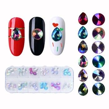 60pcs/box 3D Glitter Nail Rhinestones Colorful Nial Art Jewelry DIY Crystal Gems Beauty Manicure Mixed Charm Nail Art Decoration Nail Decorations