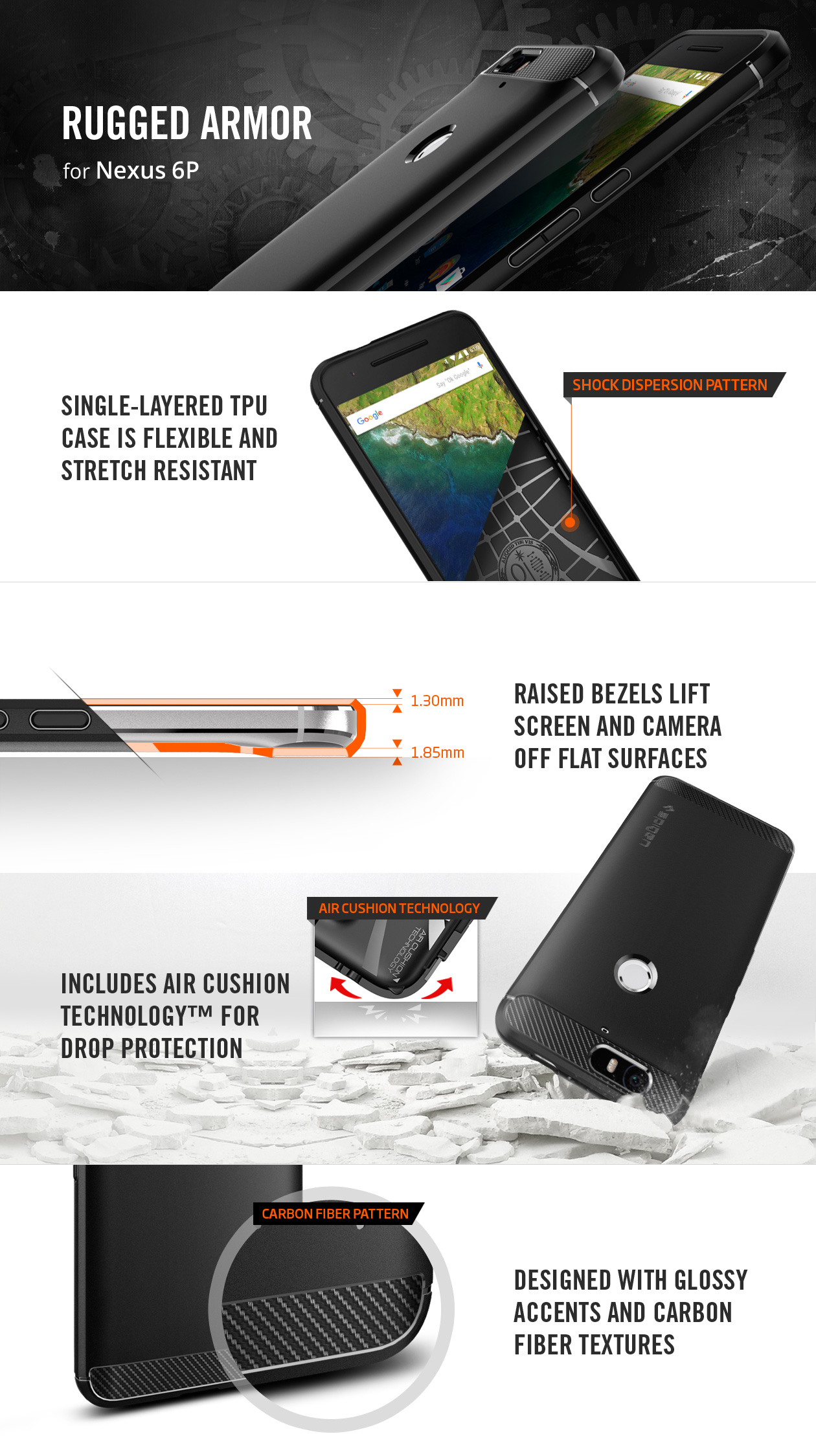 best loved 0cba5 edce1 US $16.99 |100% Original SPIGEN Google Nexus 6P Case Rugged Armor Case  Black SGP11797-in Fitted Cases from Cellphones & Telecommunications on ...