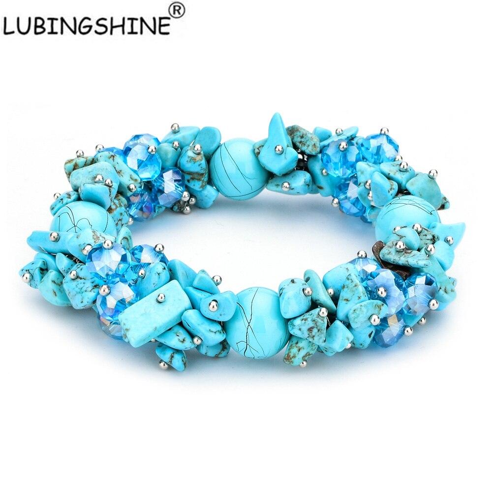 LUBINGSHINE Irregular Natural Stone Strand Bracelets Gravel Charms Handmade Jewe
