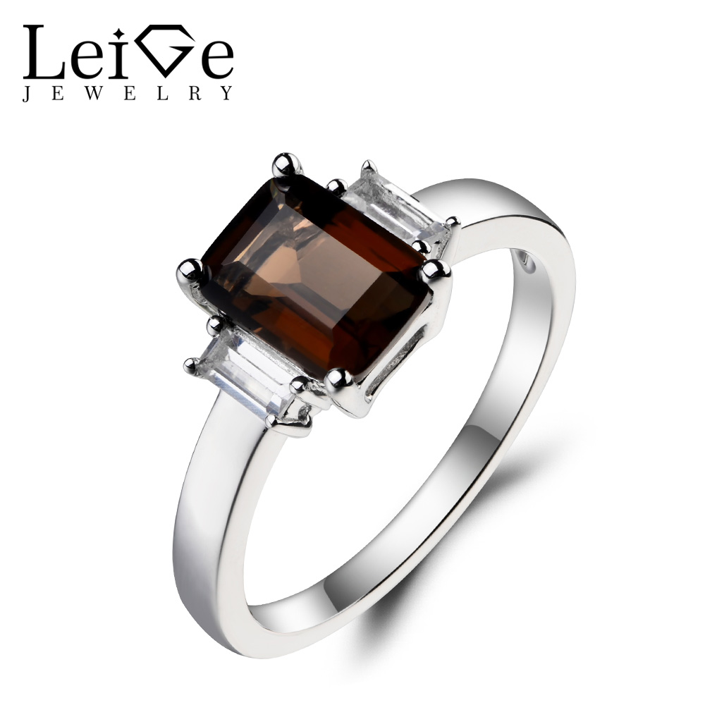 Leige Jewelry Engagement Ring Real Natural Smoky Quartz Ring Emerald Cut Brown Gemstone Soild 925 Sterling Silver Ring for Women