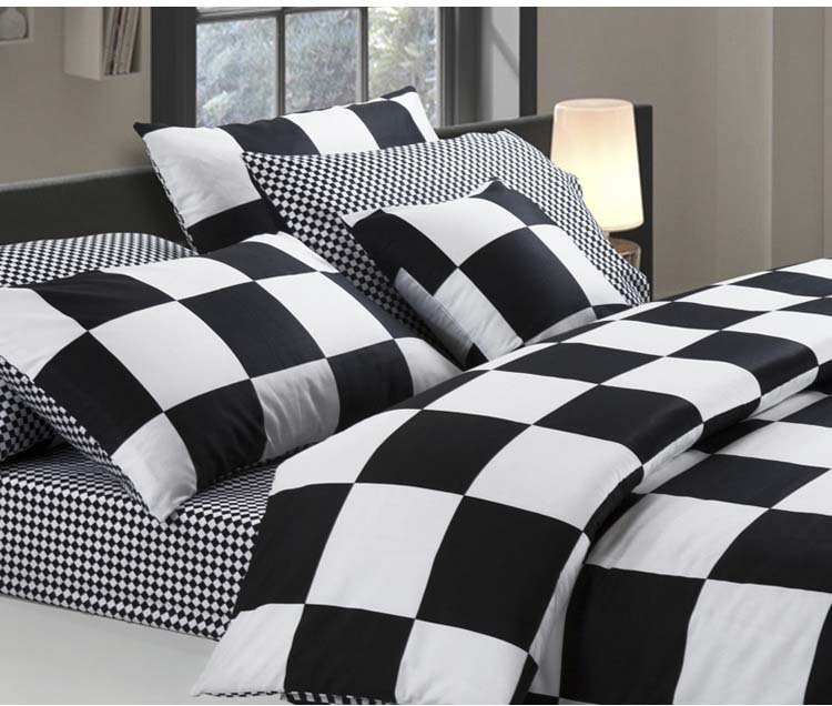 Modern Brief Style Black And White Big Plaid 100% Cotton Menu0027s 4pcs Bed  Sheet Bedding Set Queen/King Size/B2290 Air Shipping In Bedding Sets From  Home ...