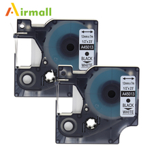 Airmall 2 Pack/los Labeling Tape DYMO 45013 s0720530 Compatible Dymo D1 Label Writer 12mm Black on White for Dymo Label Printer