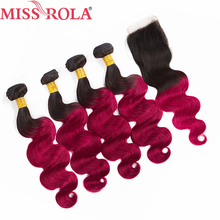 Miss Rola Hair Pre colored Ombre Indian Body Wave Hair 1B BUG Human Hair Weave 4