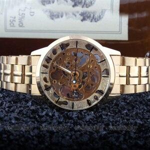 Image 3 - יוקרה סגנון גברים של נשים ליידי יוניסקס אוטומטי מכאני עצמי רוח שעון יד נירוסטה שלד זמן מתנה M103