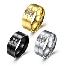 hot 316l stainless steel zircon finger ring size 7 8 9 10