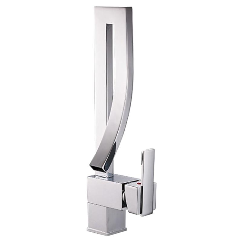 ABSS-robinets de bassin mitigeur monté sur pont carré haut robinet d'évier de salle de bain robinet d'eau chaude et froide mélangeur
