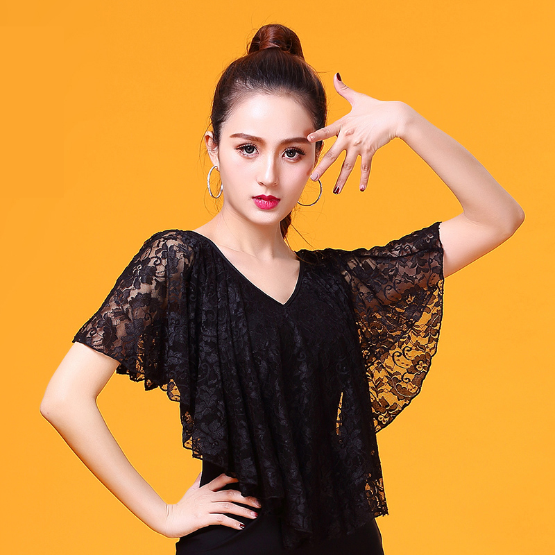 Fashion Modern V-neck Lace Riffle Sexy Latin Dance Clothes Top For Women/female/girl/lady,Adult Ballroom Performance Wear YR0312
