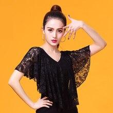 Moda moderna v cuello Riffle de encaje sexy ropa de baile latino top para mujer/niña/señora, ropa de espectáculo de salón para adultos YR0312