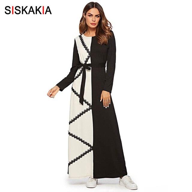 Siskakia נשים שמלת אופנה ניגודיות צבע תחרה אפליקציות מקסי ארוך שמלת סתיו סתיו 2019 אלגנטי ארוך שרוול בגדים מוסלמיים