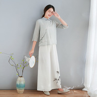 Spring Summer New Tencel Bamboo Section Gray Shirt Elegant Fashion Improved Chinese Plate Button Tops