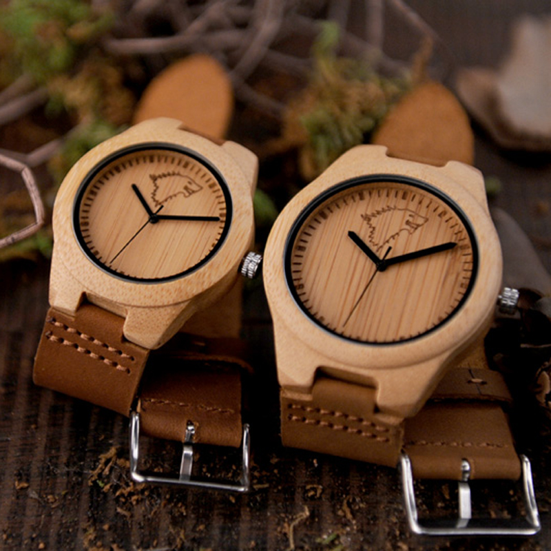 цены BOBO BIRD Hot Selling Men Women Wooden Watches Elk Deer Wolf Bamboo Case Leather Band Quartz Watch Brand Designer for Lovers OEM