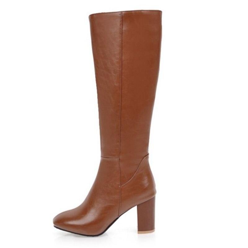 MISAKINSA Size 32-45 Knee Boots Zipper High Heel Boots Warm Shoes Women Thick Heels Boots For Office Ladies Women Footwears