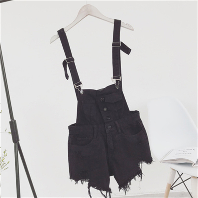 The new college wind denim strap shorts female summer hole loose Korean students was thin sling tide (15)