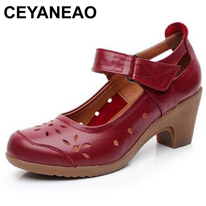 CEYANEAONice Spring Autumn Shoes Woman 111 Genuine Leather Women Pumps Lady Leather Round Toe Platform Shallow