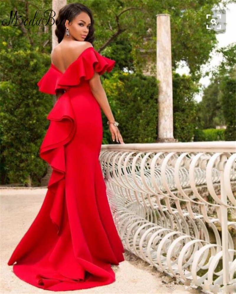 Modabelle African Red Off Shoulder Prom Dresses Plain Sexy Satin Mermaid  Evening Gowns Formal Vestidos Ruched Sweep Train. 27.1  27  ac67ac3f828a