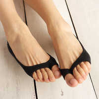 1 Pair Fashion Open Toe Boat Socks Cotton Breathable Ladies Socks Invisible Slippers Silicone Non-slip Socks Shallow Mouth Socks