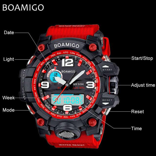 918b9486237 Esportes homens Relógios BOAMIGO Electrónicos Da Marca de Quartzo Relógios  Masculino relógio de Pulso Relogio masculino