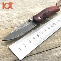 LDT KW08 Folding Knives Damascus Blade Sandal Wood Steel Handle Knife Camping Outdoor Survival Pocket Tactical