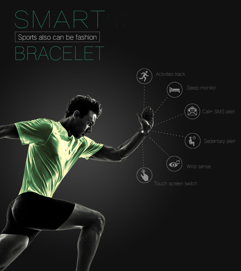 TK47 Fitness Tracker Smart Wristband Bluetooth 4.0 Sleep Monitor Sport Bracelet Smart Band For iOS Android pk Fit Bit mi band 2 4