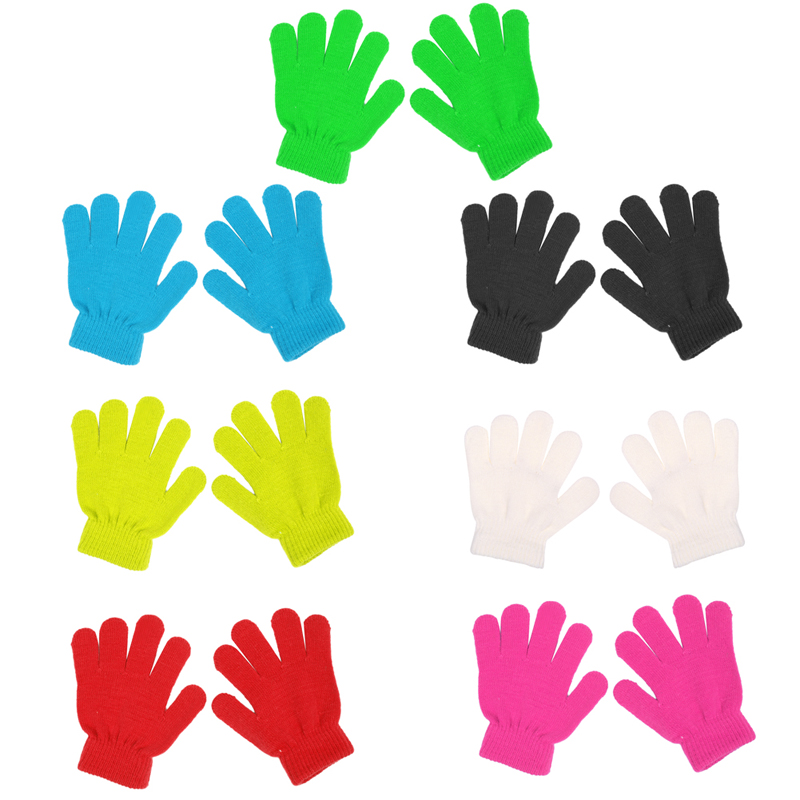 Klv Winter Nette Jungen Mädchen Handschuhe Einfarbig Finger Punkt Stretch Knit Fäustlinge