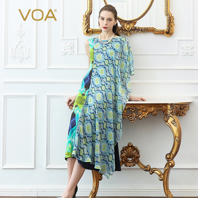 a052ad6247d VOA Silk Georgette Dress Women Party Long Dresses Irregular Summer Floral  Print Plus Size 5XL Casual Sweet Boho Elegant A529