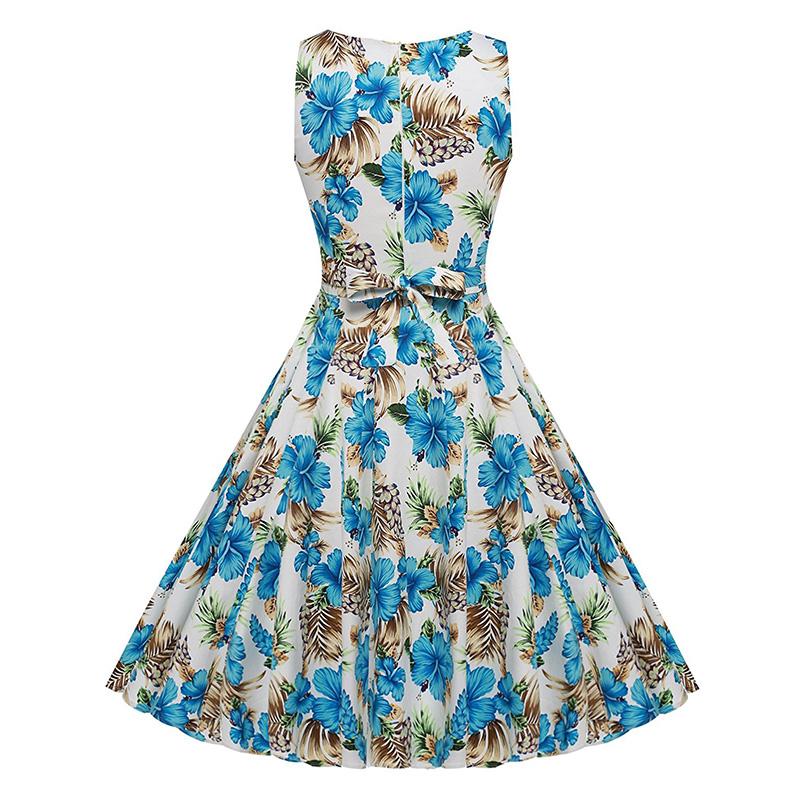 Kostlish Cotton Summer Dress Women 2017 Sleeveless Tunic 50s Vintage Dress Belt Elegant Print Rockabilly Party Dresses Sundress (67)