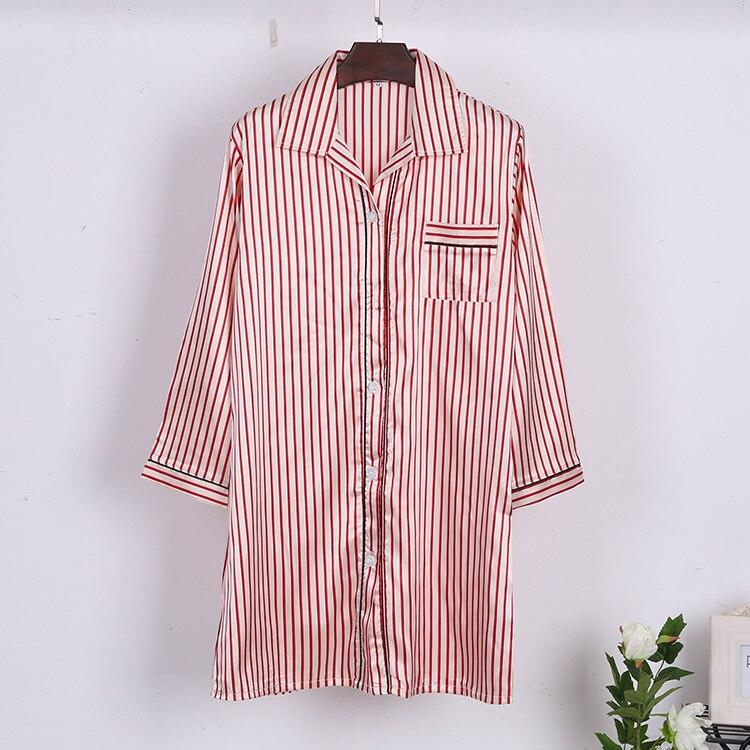 Lisacmvpnel Fashion Korean Stripe Easy Lapel Thin Section Night Shirt Boyfriend Wind Women Pijama