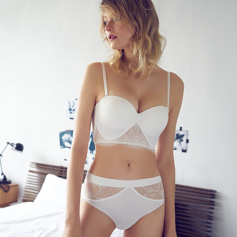 Sexy Mousse Bra Sets Deep V Gather Sexy Lingerie Simple Beauty Back Bras Half Cup Underwear Set For Women  A B C D Cup