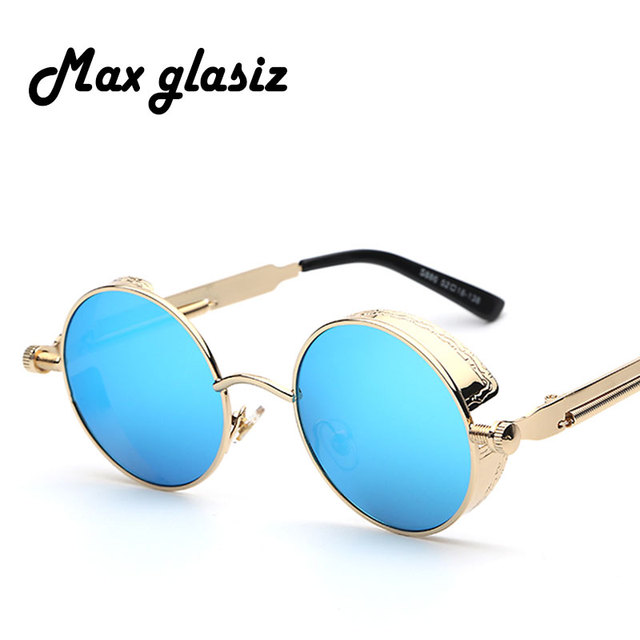 Maxglasiz Brand new 2016 Mirror Lens Round Glasses Goggles Steampunk Sunglasses Vintage Retro For men and women Hisper Eyewear