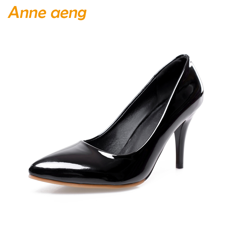 women pumps 8cm high thin heel pointed toe classic elegant office lady patent leather pumps red black women shoes big size 34-46 p23128 women patent leather thin heel pumps elegant pointed head stiletto fashion simple style ladies heeled shoes size 33 42