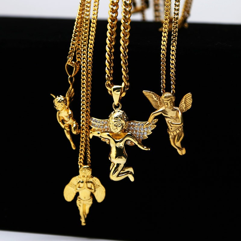 Gold color cherub angel baby charm men or women cuban chain hiphop gold color cherub angel baby charm men or women cuban chain hiphop fashion lovers golden micro angel necklace 4design in chain necklaces from jewelry mozeypictures Images