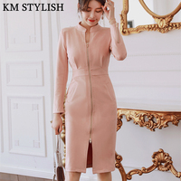 Spring and Autumn 2018 New Women's Pink Suede Dress Fashion Front Zipper Bag Hips and Knees Length Solid Color Dress