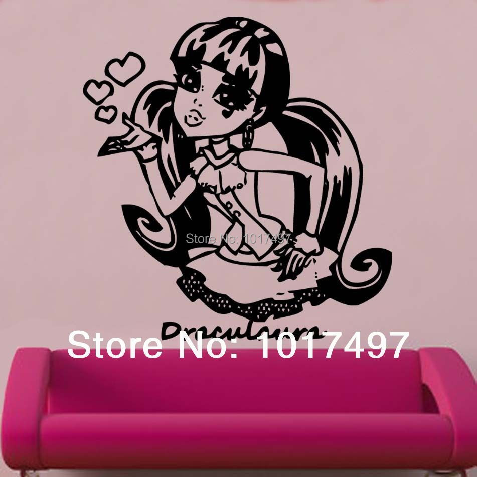 Large size Creative Personalized Monster High Decal Vinyl Wall Sticker,60x57cm free shipping Monster High wall decals K1052