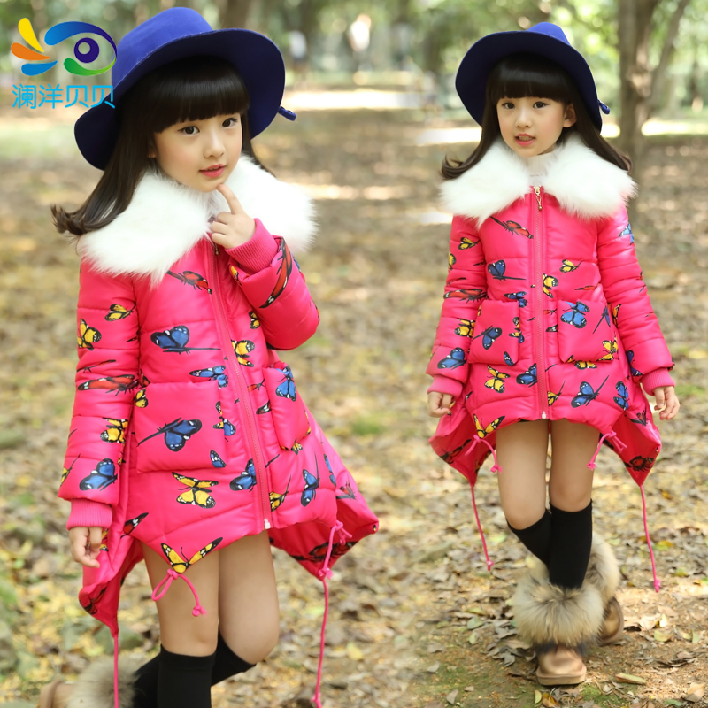 ФОТО Children's clothing female child medium-long winter cotton-padded jacket outerwear  child thickening fur collar trench