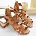 2016 nueva mujer sandalias del verano más el tamaño 35-43 zapatos calado del abrigo del tobillo moda Casual Shoes Women pisos zapato Sexy Gladiator por mayor