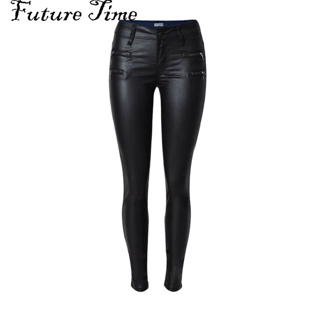 2017 spring women jeans faux PU leather jeans coated slim skinny pencil pants sexy stretch tight femme skinny black jeans C0448