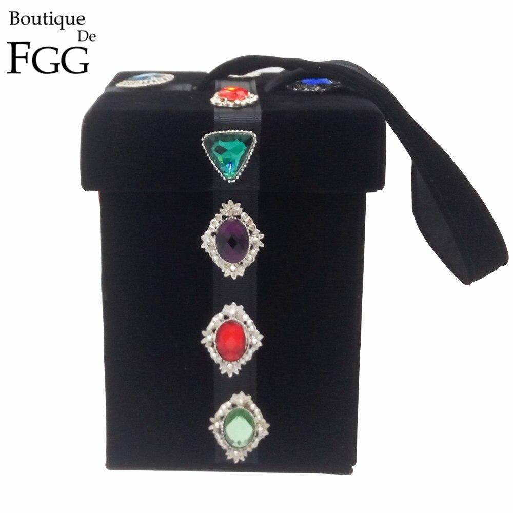 Negro \\ Rojo de Terciopelo Diamante Caja de Regalo de Cristal Bolso de Noche de