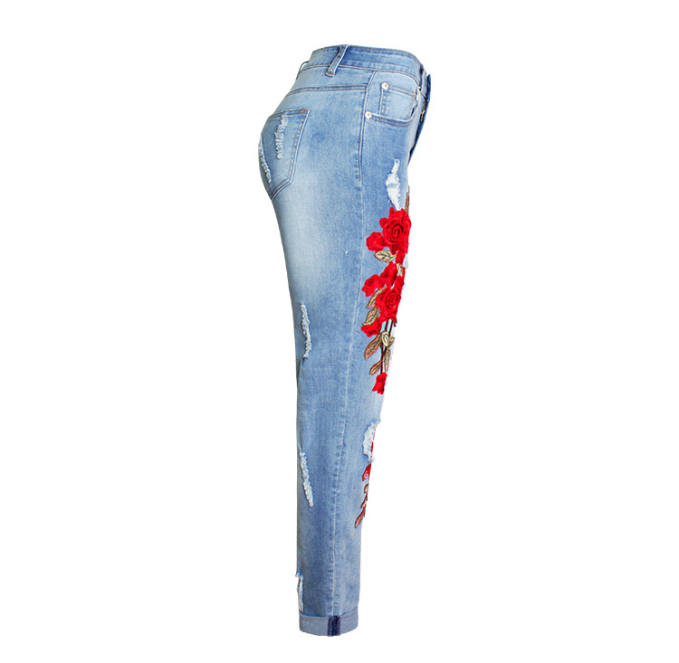 2017 Europe and the United States new women stretch loose jeans women trousers color flowers 3D stereo embroidery holes jeans (7)
