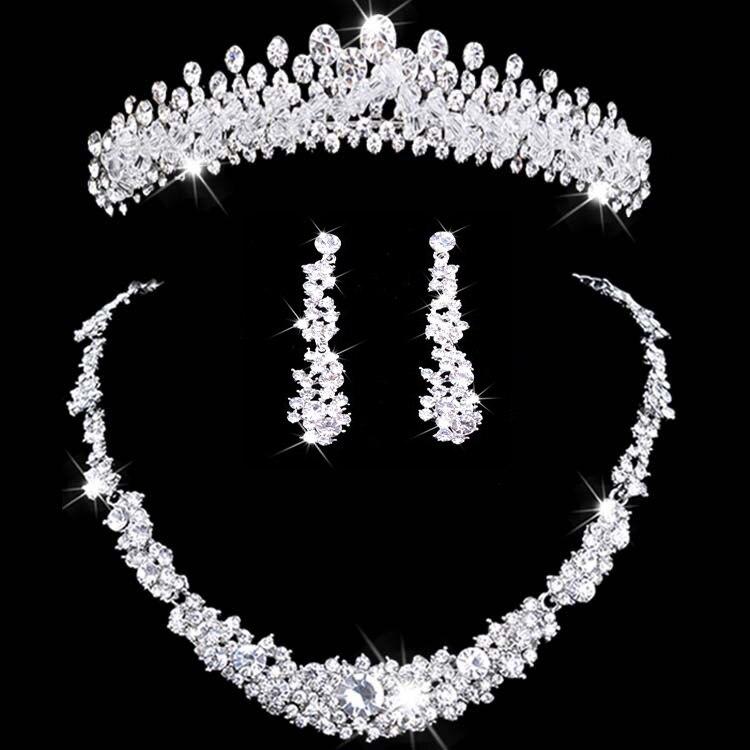 Joia nupcial tiara colar e conjunto coroa