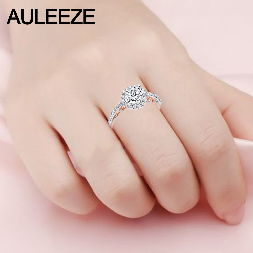 U Pave Moissanites Wedding Sets Fine Jewelry 14K Two Tone Gold Rings ...