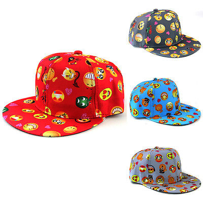 Children Boys Girls Emoji Print Hip-Hop Hat Popular Adjustable   Baseball     Cap