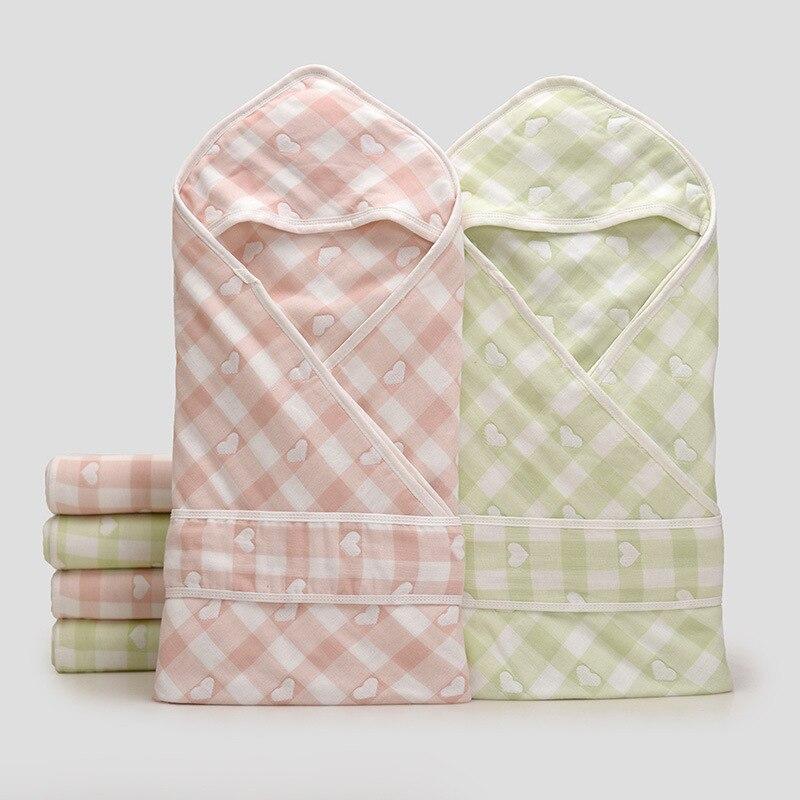 Newborn Blanket Envelopes Muslin Cotton bath toddler hooded towel Baby Cartoon Cocoon Swaddle Wrap Blanket 100*80CM