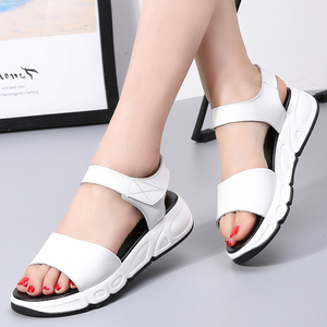 Image 5 - Women Platform sandals shoes Genuine Leather ladies white Flats Sneakers Sandals shoe 2018 summer open toe Fashion footwear