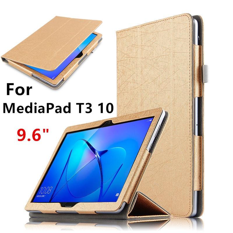 Per Il caso di Huawei MediaPad T3 10 Guscio Protettivo In Pelle Smart Cover Tablet AGS-L09 AGS-L03 W09 T310 PU Protector 9.6 pollici casi
