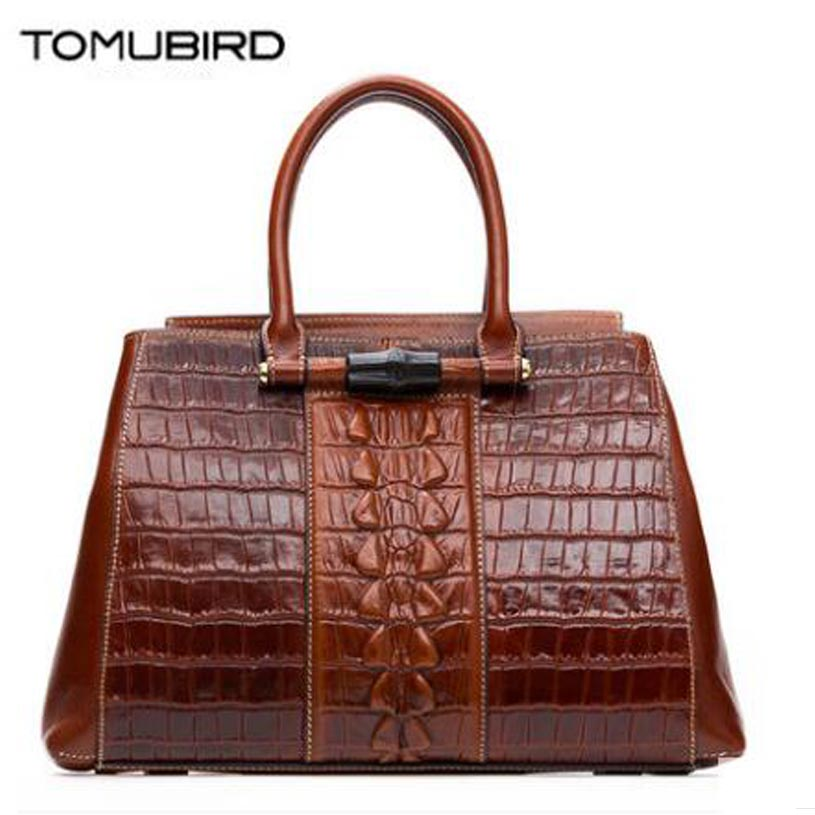 TOMUBIRD new Superior cowhide leather Embossed Crocodile famous brand women bag fashion genuine leather handbags Tote Boston bag tomubird new superior cowhide leather designer rose embossed famous brand women bag fashion tote women genuine leather bag