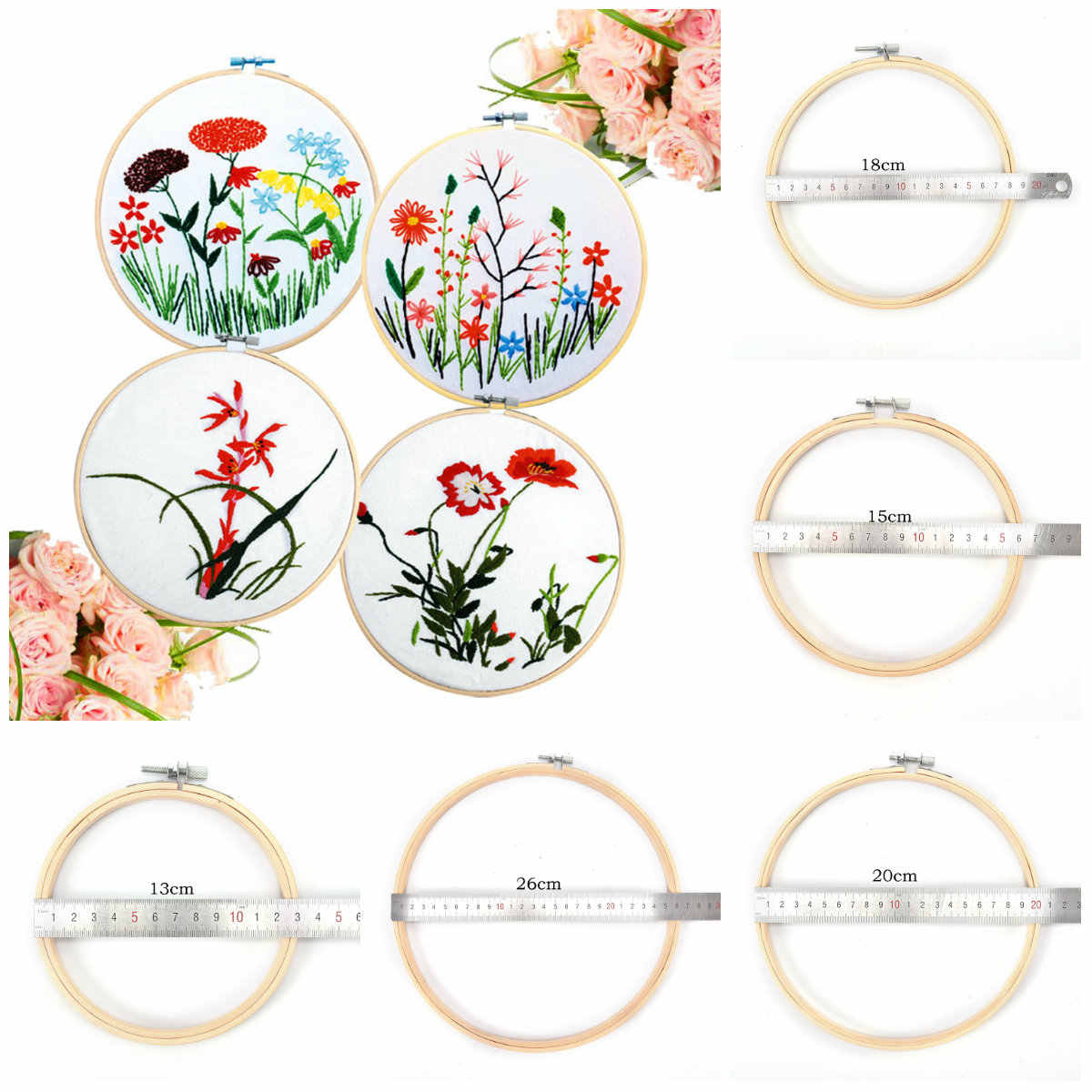 13-26CM Bamboo Frame Embroidery Hoop Ring DIY Needlecraft Cross Stitch Machine Round Loop Hand Household Sewing Tools